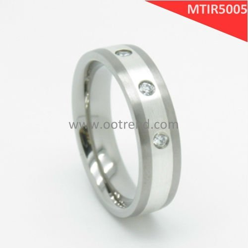 Best seller eternity bands,pure titanium rings with 925 silver inlaid,brushed finish,have shiny Zircon AA stone inlaid