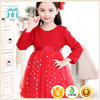 Lovely christmas red dress kid clothing fashion designer one piece party dress baby children frocks designs