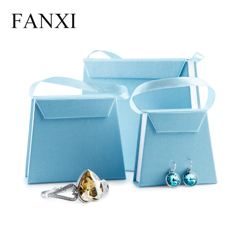 FANXI China Supplier Blue Color Bag Shape Ring Necklace Bracelet Cardboard Paper Boxes For Wedding Custom Logo Jewelry Gift Box