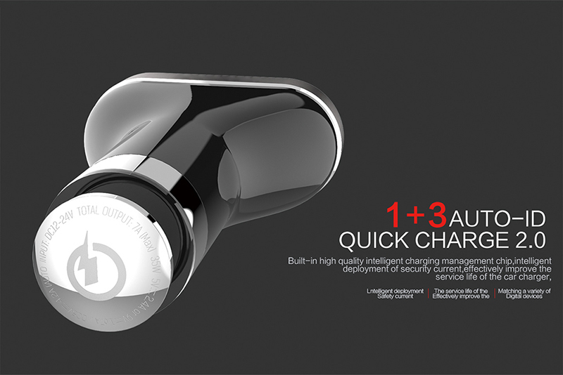 High Quality 4 ports usb car charger 5V 2.4A 9V 1.67A QC2.0 Quick Charging Car Charger