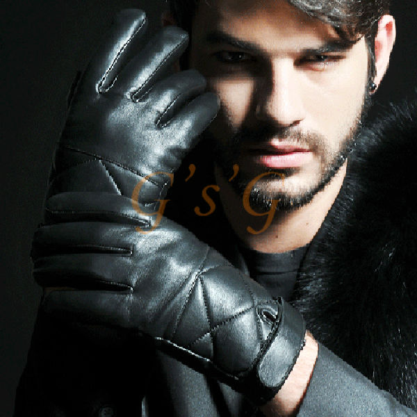 Men's Sheep Leather Touch Screen Black Driving Gloves