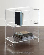 2 tiers excellent design handmade clear acrylic bookcase/acrylic book display rack/acrylic bookshelf