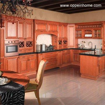 Habsbourg d 39 armoires de cuisine en bois massif de ch ne for Armoire de cuisine rouge