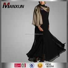 High Quality Muslim Design Black Double Chiffon Formal Dresses Ladies Islamic Clothing Turkey Women Kebaya
