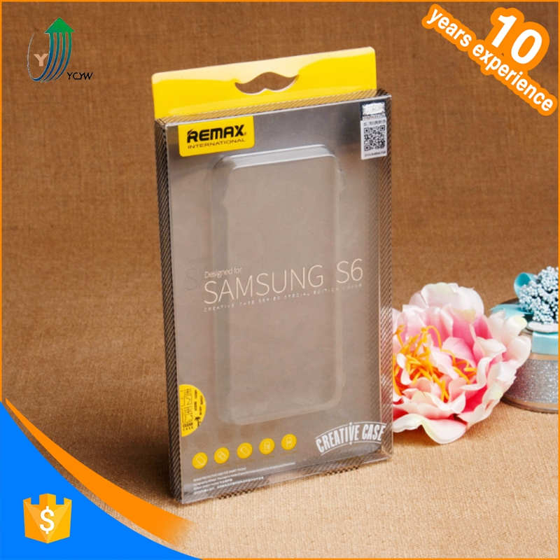 Custom logo transparent clear pvc plastic packaging box for phone cases