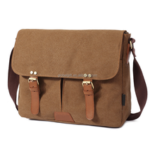 Pure color double pockets messenger bag magnetic buckle messenger bag canvas messenger bag for men