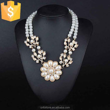 Fashion long pearl necklace jewelry description of bridal,latest design handmade flower shaped pearl necklace jewelry N0223
