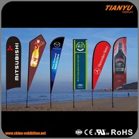 Superior Quality Custom Printed Logo Advertising Beach Flag With Flexible Pole
