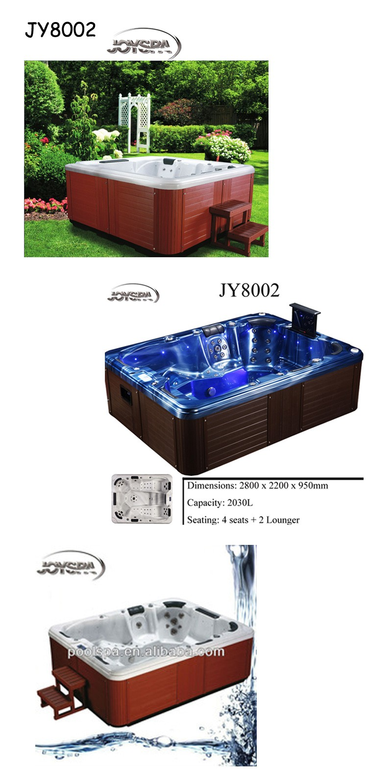 joyspa 6 person whirlpool bathtub outdoor whirlpool with. Black Bedroom Furniture Sets. Home Design Ideas