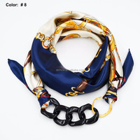 Women square scarf with acrylic jewelry pendant scarf