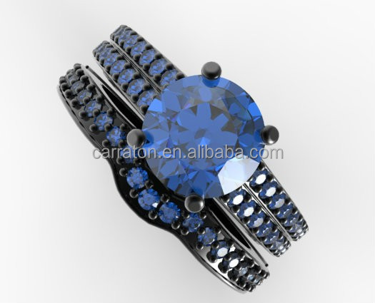 wholesale new year jewelry 925 silver black gold plated blue sapphire wedding ring set