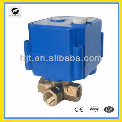 "3-way 3/8"" brass motorized ball valve 12VDC with manual override function and position indicator for spray pumping system"