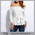 High Quality Custom Sexy Style Back Zipper Closure White Solid Wave-End 3/4 Sleeve Off the Shoulder Office Women Tops With Belt