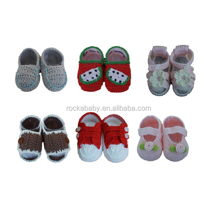 100% cotton handmade knitted kids shoes accessories baby unisex kids' booties