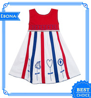 Lovely little girls striped embroidery dress frock design small girls dress