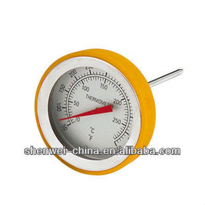 Dial stainless steel kitchen cooking household meat thermometer with silicon ring