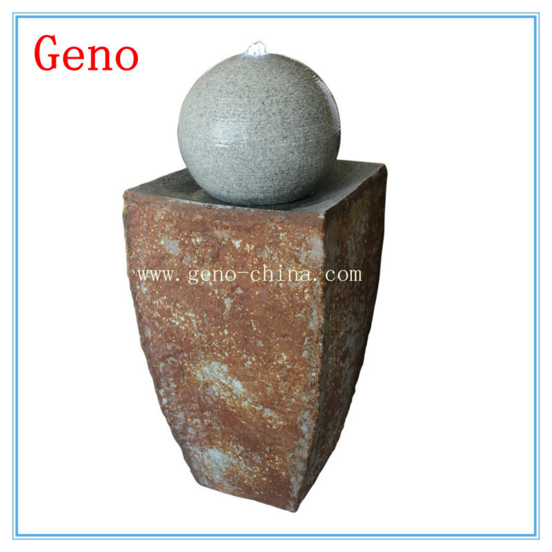 rusty fountain rusty water feature round ball nature stone water features