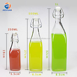 250ml 500ml 1000ml square glass bottle swing top bottle enzyme glass bottle