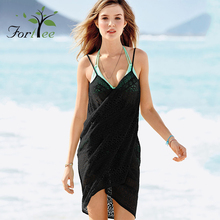 Beachwear ladies summer casual sexy bikini crochet black cover up beach dress