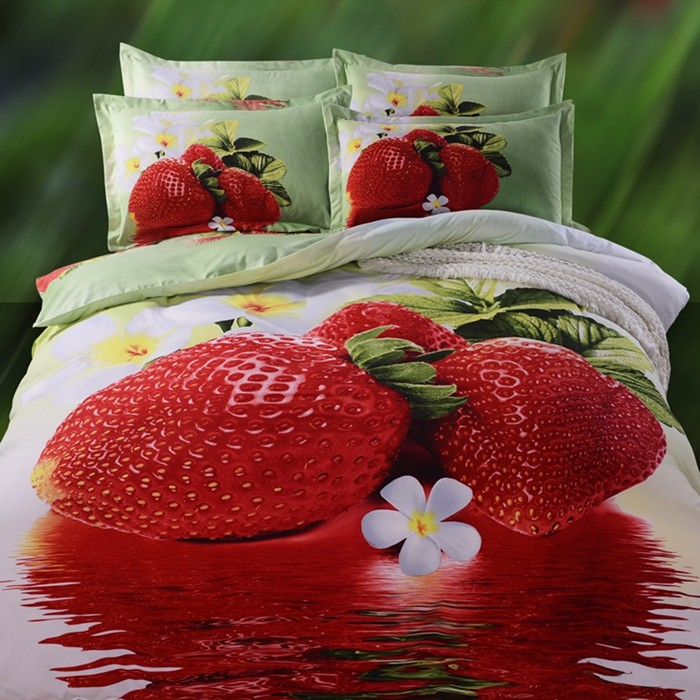 Top Selling Factory Wholesale 3D Strawberry Print Bed <strong>Sheets</strong>, New Fashion Design 3D Bed <strong>Sheet</strong>.