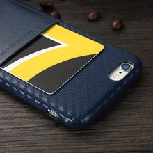 [X-Level] Business Partner Carbon PU Leather Phone Case for iPhone 6 Plus with Business Card Holder