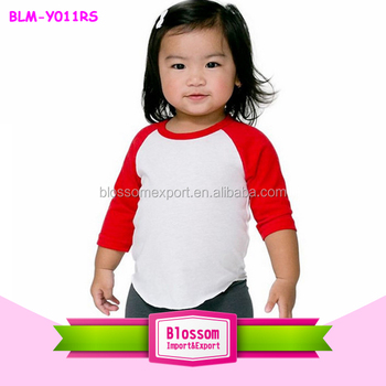 2017 baby raglan shirts girls icing ruffle shirt cotton 3/4 sleeve raglan kids shirt