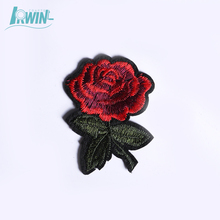 Fashion design rose patch clothing name custom embroidery iron on patch