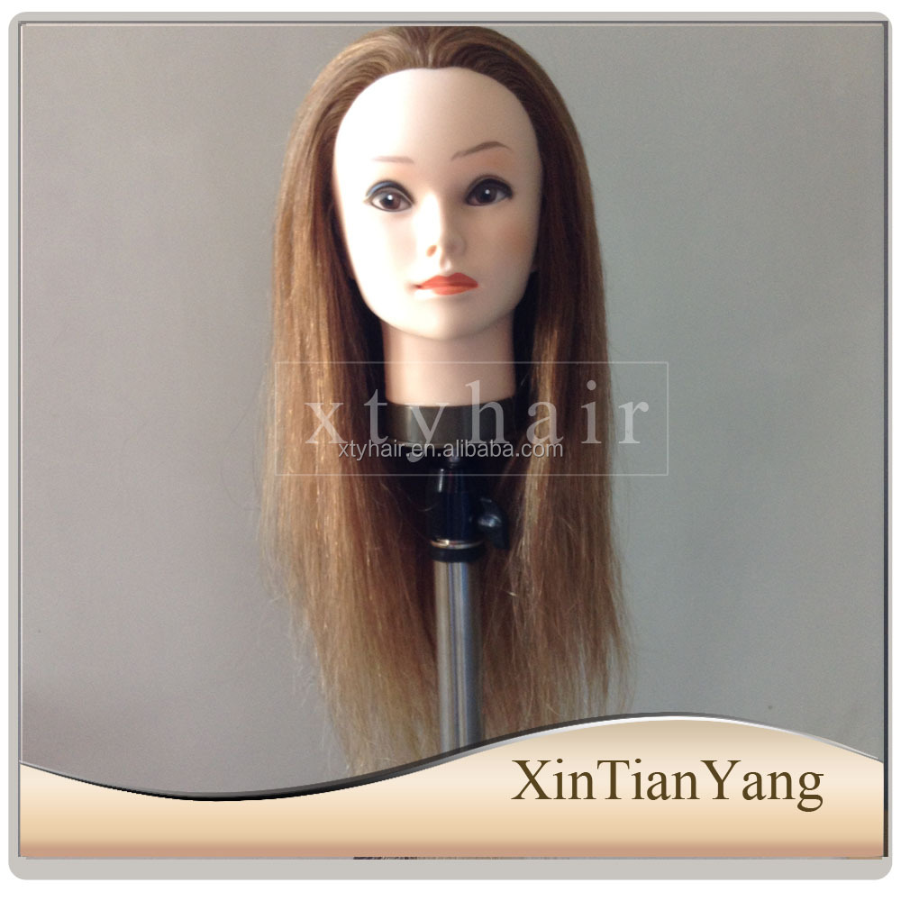 100 human hair Salon Beauty School Professional female Training Doll Head
