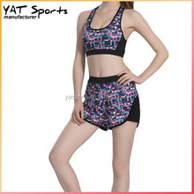 Custom design sports suit running body suit sports bra and shorts set