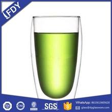 high quality hand made double wall glass cup with handle