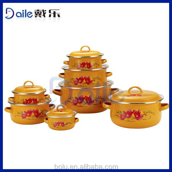 6pcs orange enamel carbon steel cookware