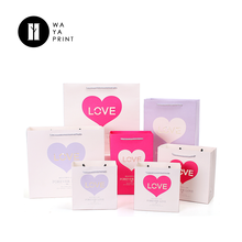 Factory OEM Logo gift bag Handle wedding decorative Heart shaped paper bag