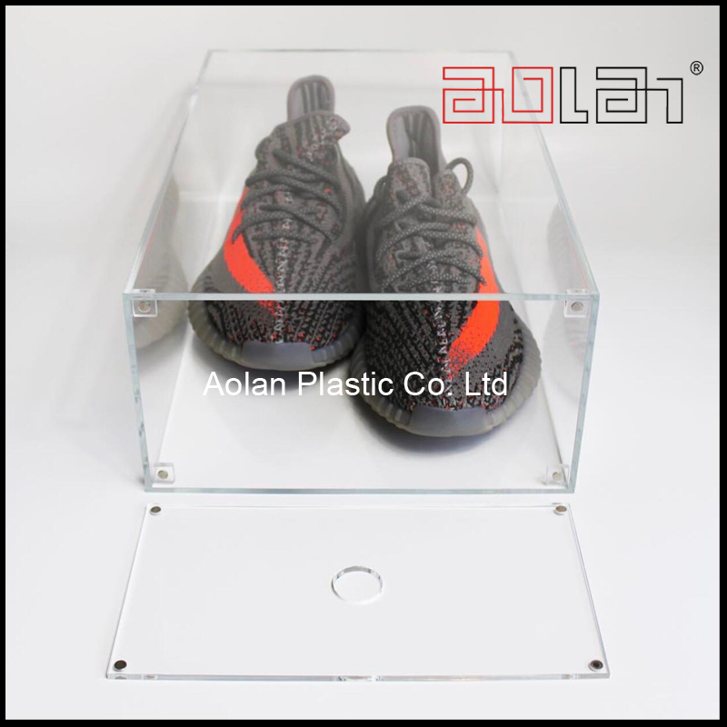 Clear Acrylic Drop Front Shoe Box