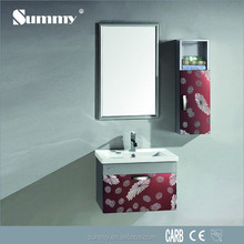 600mm simple design red color makeup bath cabinet vanity with stainless steel side cabinet