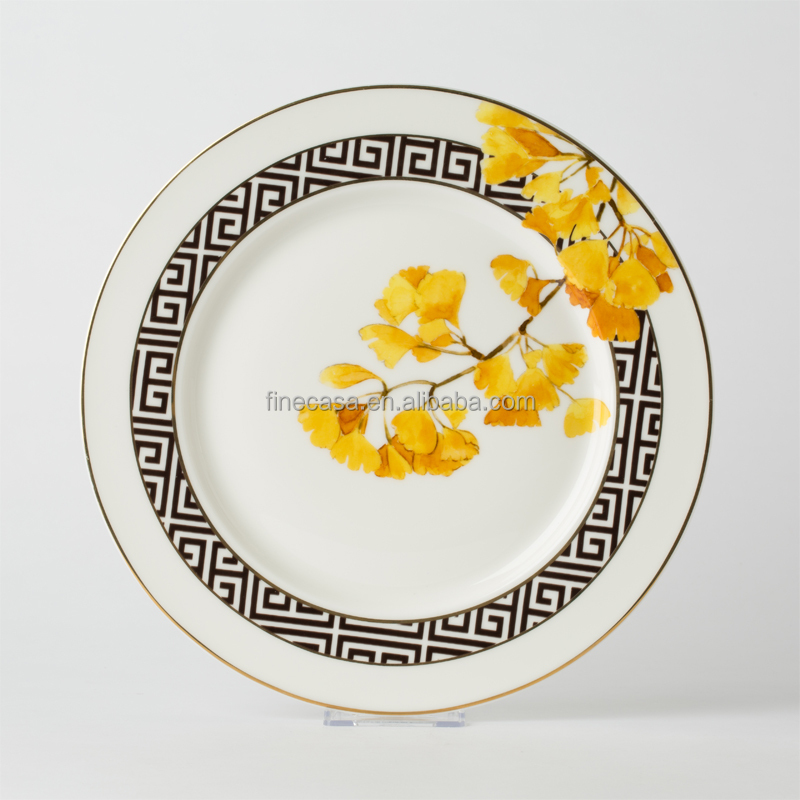 10.5 inch Elegant Design Ceramic Dinner Plates of Black & White
