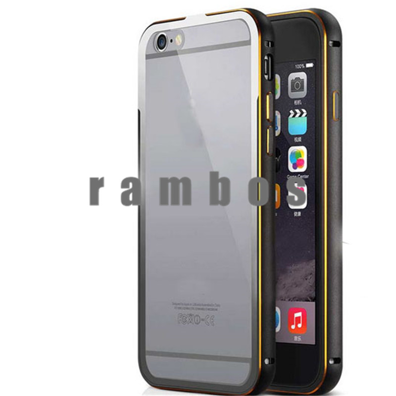 Metal + Acrylic Clear Back Cover Cell Phone Hybrid Case Aluminum Bumper Case for iPhone 5 6 6 Plus for Samsung Galaxy S6 S6 Edge