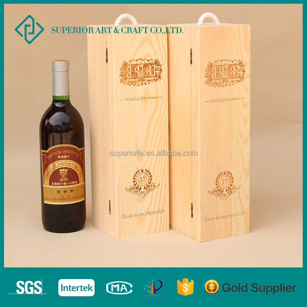 Wholesale Handmade Cheap Vintage Garden Wine handle Used Wood Crates for Package