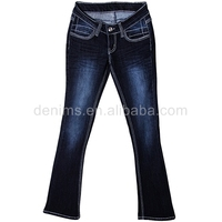 711220-B1 womens jeans embroidery pocket design beaded wide leg cotton pants
