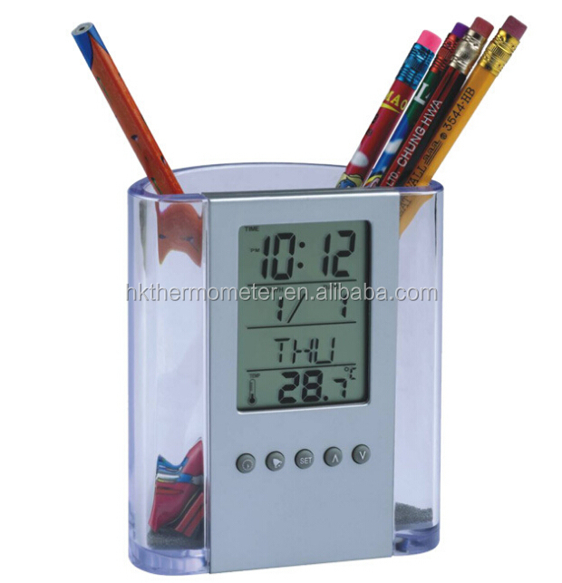 Pen Holder with Clock and Temperature Display Digital Pen Holder Decorative Pen Holder