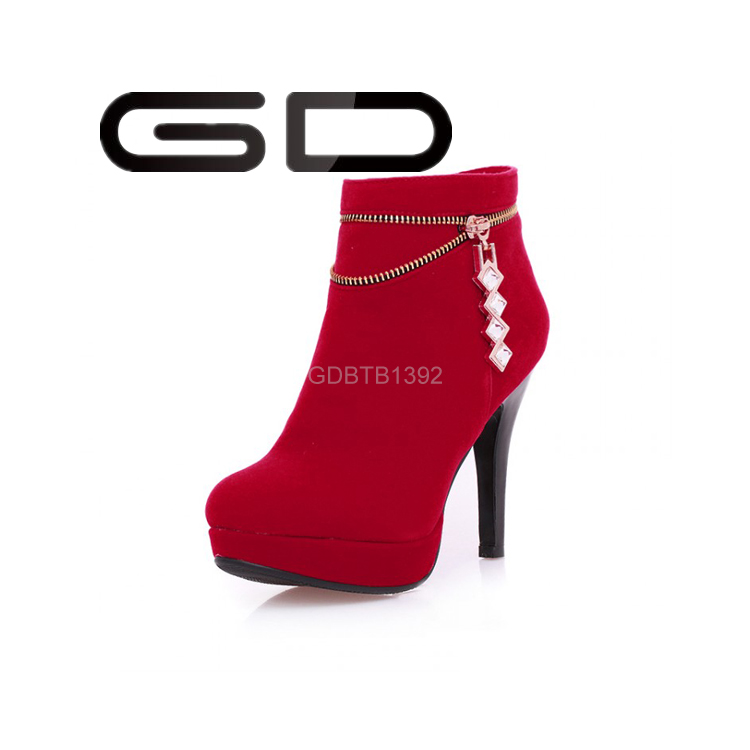 Pure color stiletto heel platform zipper rubber <strong>boots</strong>