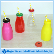 10oz plastic drinking bottle with lid and straw