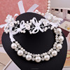 Bow ribbon pearls headwear necklace jewelry set,pearl sets wholesale(SWTPR696)