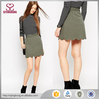 A-Line Mini Skirt with Scallop Hem Side zip closure skirt
