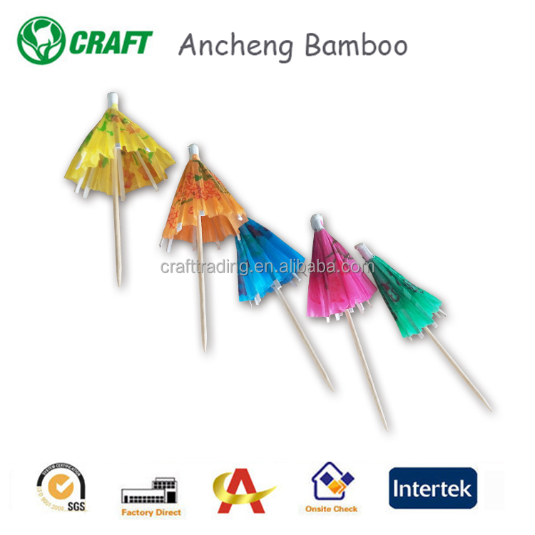 Promotional disposable bamboo cocktail fruit skewer sticks