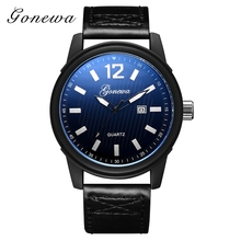 Gonewa Brand Fashion Men Watches Casual Sport Leather Black Dial Simple Quartz Wristwatch Luxury Army Dress Men Business Watch