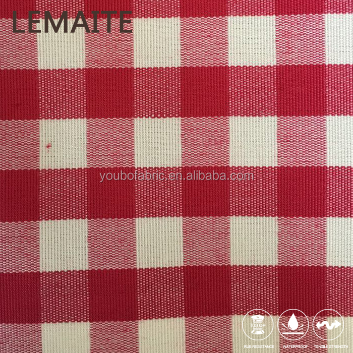 Chinese Red Checked Pattern Polyester Woven Cushion Fabrics For Outdoor Sofa Decor