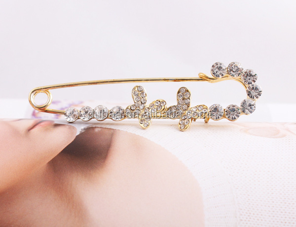 Fashion Safety Pin Womens Crystal Brooch Imitation Crystal or Plated Brooches