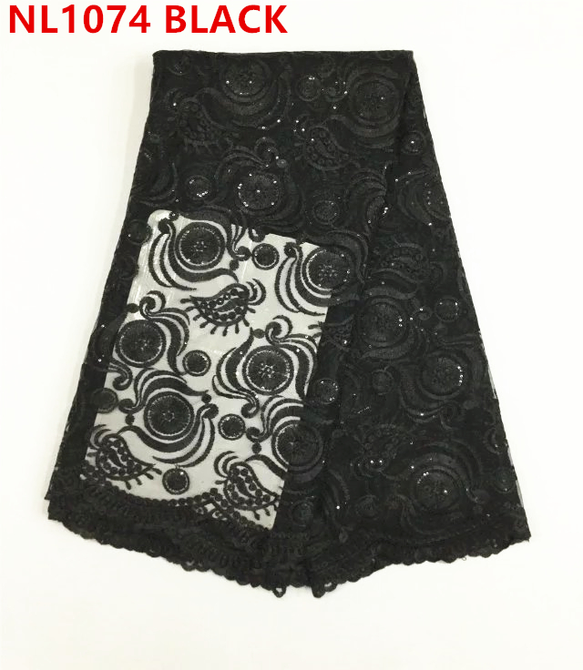 wholesale nigeria tulle lace guipure embroidered french tulle net lace fabric / black african lace fabric