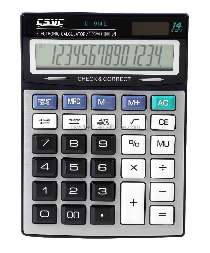 large display 14 digits solar power Check and Correct calculator CT-914II