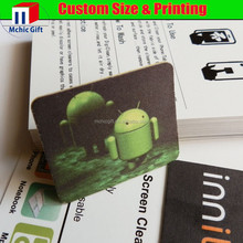2015 microfiber full color print custom shape microfiber phone cleaner sticker